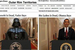 'Obi-Wan Kenobi Is Dead, Vader Says', la mejor parodia del titular del NYT 'Bin Laden Is Dead, Obama Says'