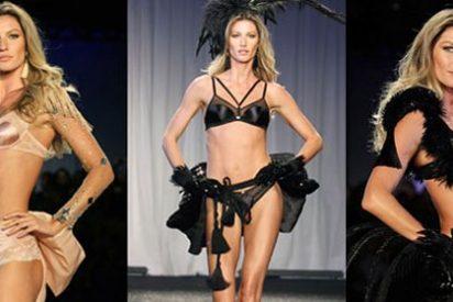 La 'top' brasileña, muy sugerente en el desfile de su línea de lencería