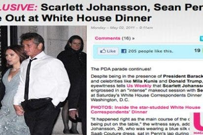 Scarlett Johansson y Sean Penn, muy acaramelados en la Casa Blanca