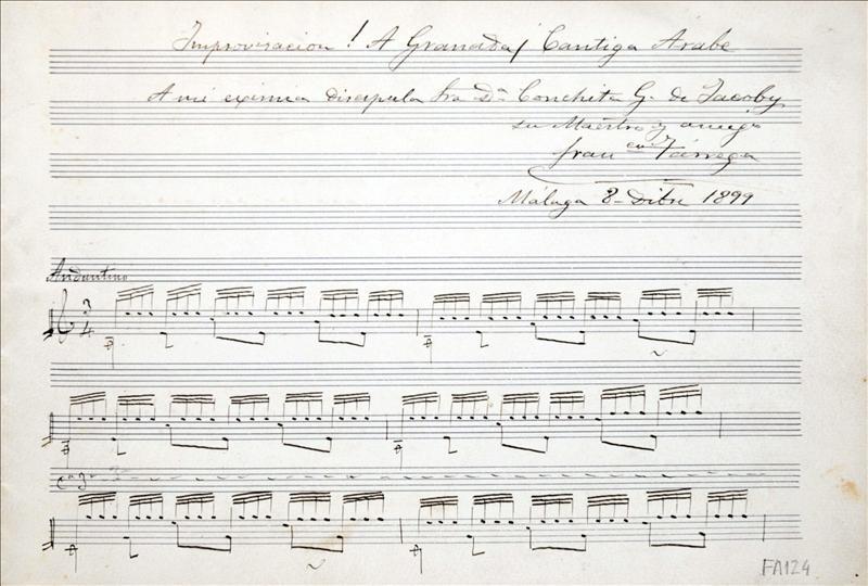 "La partitura de ""Recuerdos de la Alhambra"", de Tárrega, a subasta mañana"
