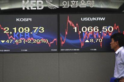 El Kospi cae 10,58 puntos, el 0,50 por ciento, hasta 2.119,06 puntos