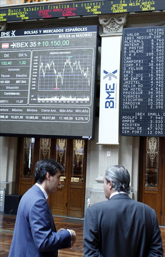 La Bolsa baja un 1,42 por ciento al mediodía y pierde el nivel de los 10.700 puntos