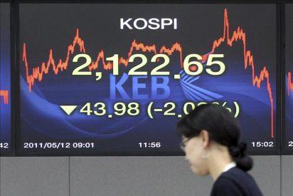 El índice Kospi baja 18,46 puntos, el 0,84 por ciento, hasta 2.155,85 puntos