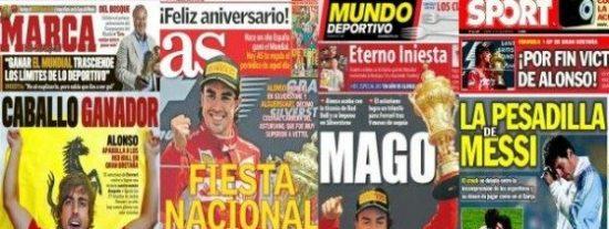 El diario Sport pasa del triunfo de Fernando Alonso por su preocupación por Messi
