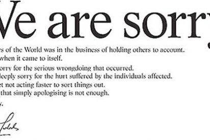 """""""We are sorry"""": Murdoch publica en la prensa británica una carta de disculpa por los escuchas del 'News of the World'"""
