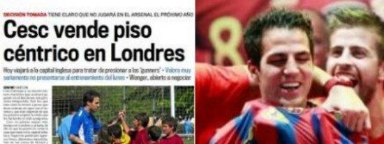 Al diario Marca le cuelan la noticia de que Cesc vende su piso en Londres