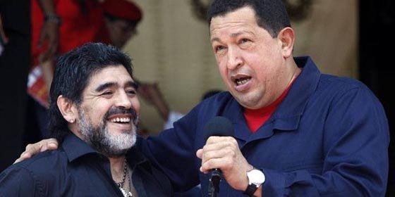 Chávez recibe la visita de Maradona