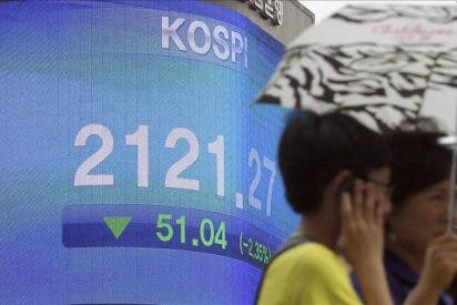 El índice Kospi baja 55,01 puntos, el 2,59 por ciento, hasta los 2.066,26 puntos