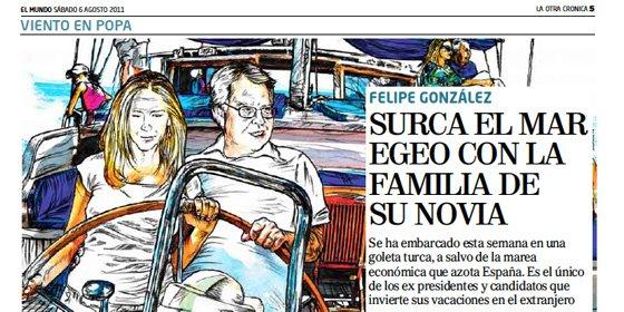 Felipe González surca el mar Egeo con la familia de su novia