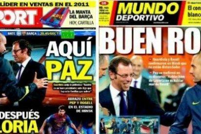 Los diarios catalanes se apresuran a publicar la paz Guardiola-Rosell
