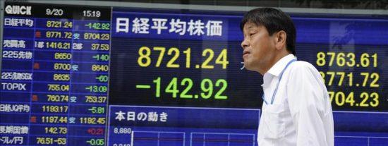 El índice Nikkei cae un 1,36 por ciento hasta 8.758,74 puntos
