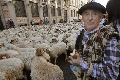 Cachavas, zahones, carros y pendones en Madrid en defensa de la trashumancia