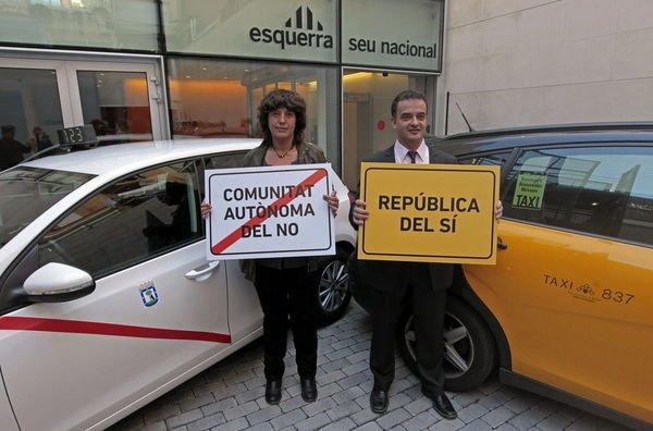 ERC utiliza los colores de los taxis de Madrid para enviar mensajes negativos