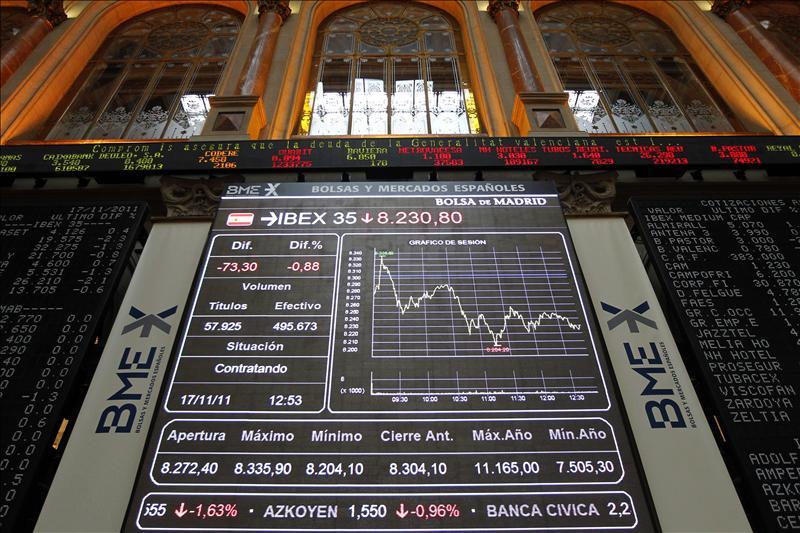 El IBEX reduce la caída a mediodía al 0,22 por ciento tras relajarse el riesgo país