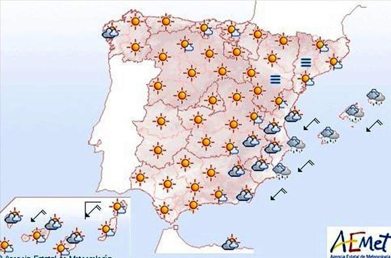 Lluvias en Baleares, Valencia y Alicante para mañana y despejado en el resto