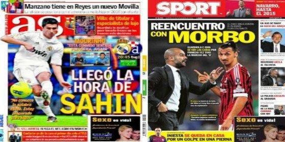 'AS' y 'Marca' promocionan a Sahin mientras 'Sport' y 'Mundo Deportivo' reducen a Ibrahimovic