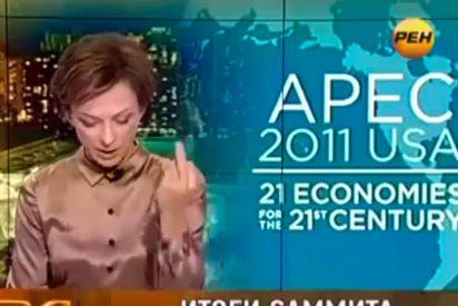 Una periodista rusa le dedica una peineta a Obama en su telediario