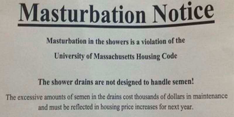 Prohíben masturbarse en la Universidad de Massachusetts... porque se atascan las cañerías