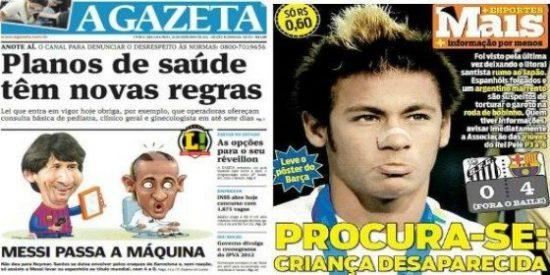 La prensa brasileña lincha a Neymar tras la derrota ante el Barça