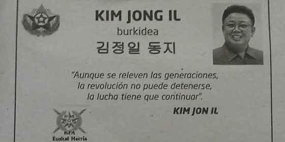 El diario proetarra Gara publica una esquela del tirano Kim Jong Il