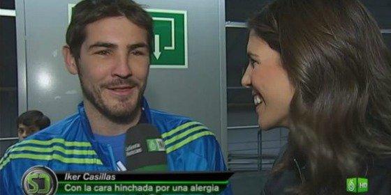 Iker Casillas aparece con la cara hinchada en 'El Partido por la Ilusión' tras una reacción alérgica tras la ingesta de marisco