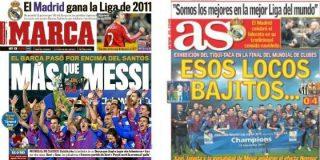 'Marca' y 'AS', ejemplares, dedican sus portadas al triunfo histórico del Barça