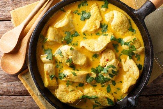 pollo al curry ligero