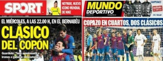 """La prensa catalana pide revancha y apunta al Real Madrid: """"Copazo"""" y """"Copón"""""""