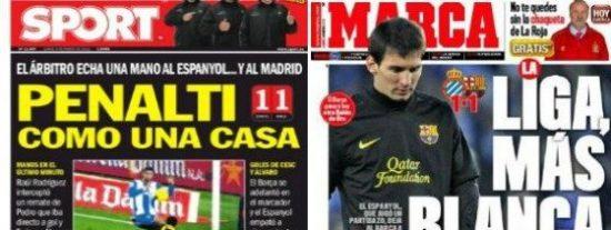 """'Sport' clama por el """"penalti como una casa"""" y el Barça se hunde a cinco puntos del Real Madrid"""