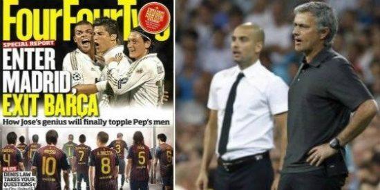 """En Gran Bretaña vaticinan -y argumentan- el 'fin de ciclo': la revista mensual 'Four Four Two' titula """"Entra el Madrid, sale el Barça"""""""