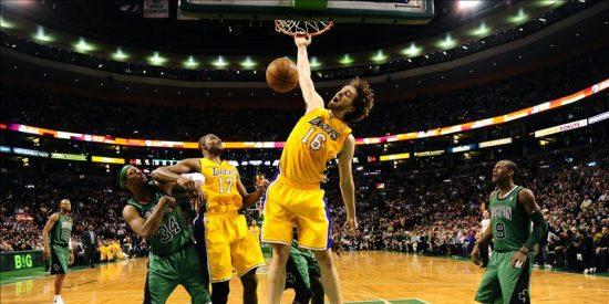 87-88. Gasol hace todo bien ante los Celtics y salva a los Lakers