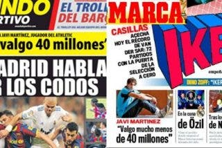 """Mundo Deportivo y Marca, distintas entrevistas a Javi Martínez, mismas declaraciones en portada: """"No valgo 40 millones"""""""