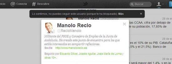 'El bloqueo de Recio', el 'twitter privado' del consejero de Empleo