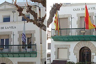 Queman la bandera de España del Ayuntamiento de San Pol de Mar