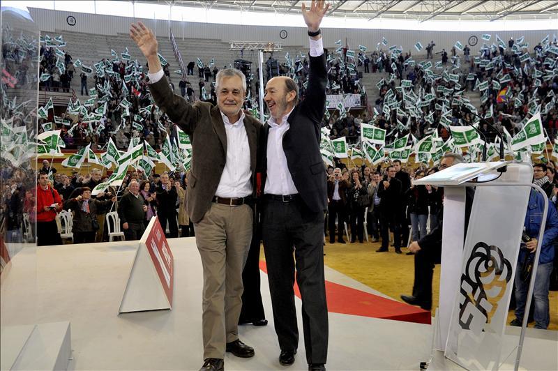 Rubalcaba, Felipe González y Griñán cierran la campaña del PSOE de Andalucía