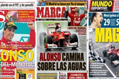 Fernando Alonso logra lo imposible: 'roba' las portadas de la prensa deportiva a Real Madrid y Barcelona