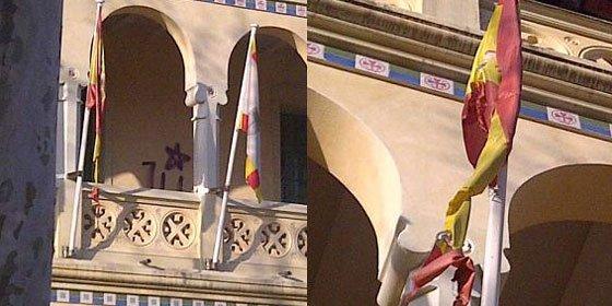 Queman la bandera de España del ayuntamiento de Begas (BNC)