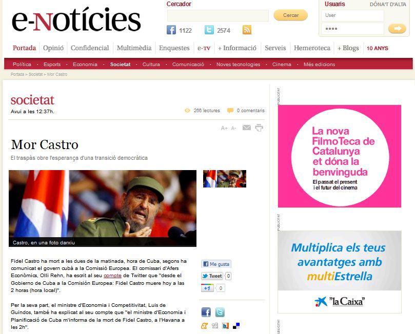 Twitter vuelve a 'matar' a Castro y dos medios catalanes se lo tragan