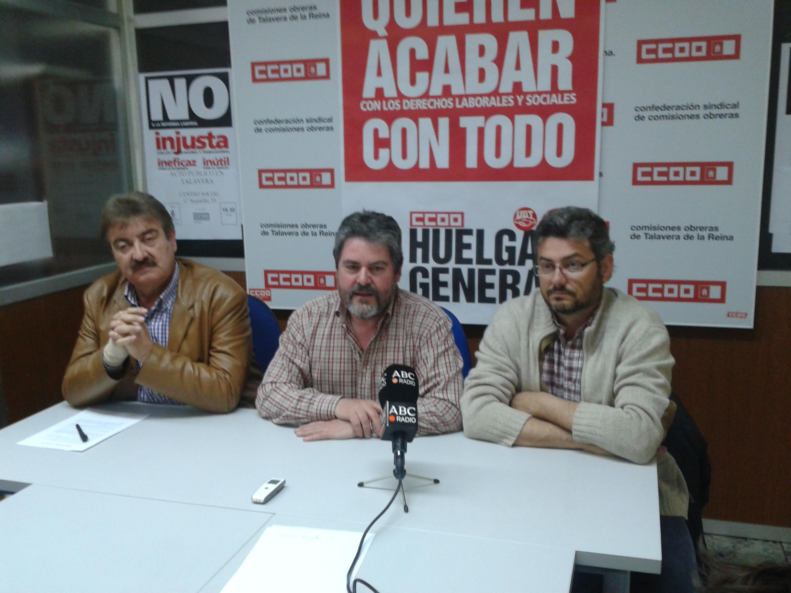 IU se reúne con UGT y CC.OO en Talavera para llamar a la participación en la huelga general