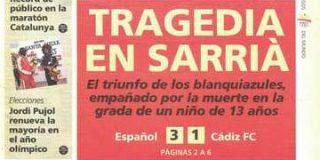Se cumplen veinte años de la tragedia de Sarriá: un niño de 13 años murió después de que una bengala le atravesara el pecho
