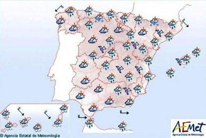 Mañana, chubascos fuertes en Baleares y levante, y nevadas en el extremo norte