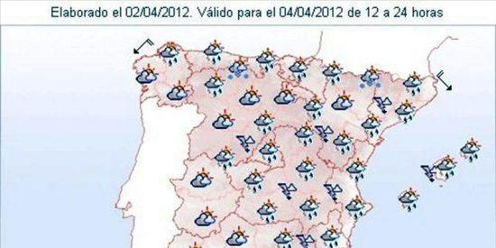 Chubascos fuertes en Baleares y Levante y nevadas en el extremo norte