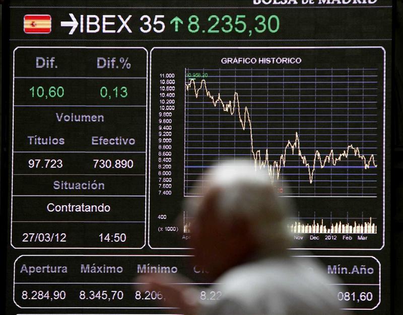 El IBEX cae el 0,77 por ciento pendiente de la subasta del Tesoro Público