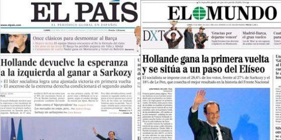 El Mundo coloca ya a Hollande en la presidencia y El País canta eufórico la 'Marsellesa'