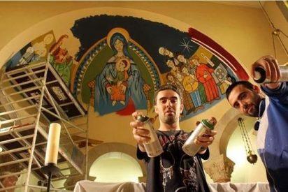 Una iglesia de Barcelona decora su ábside con un grafiti