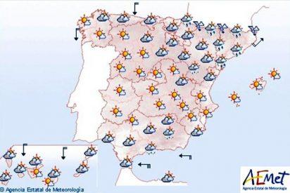 Nuboso en el este de Murcia y Andalucía y tormentas en los Pirineos