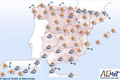Intervalos de viento fuerte en Galicia, nubes y chubascos en Andalucía