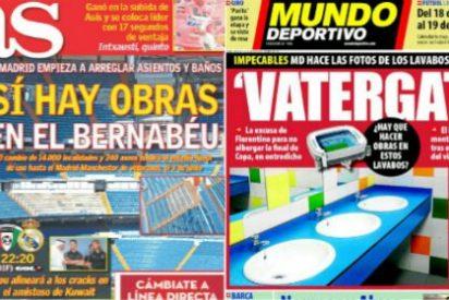 """'AS' y 'Mundo Deportivo' comienzan la 'guerra' de los baños del Bernabéu: """"Sí hay obras"""" contra """"Vatergate"""""""
