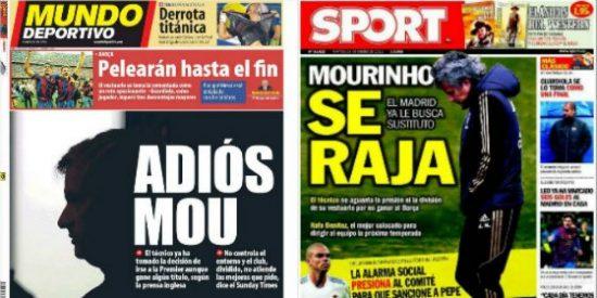 "Así 'llenó' la prensa deportiva catalana varias de sus portadas a lo largo de la temporada: ""Se raja""; ""A Mourinho le buscan sustituto"" o ""adiós Mou"""