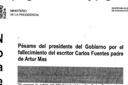 El Gobierno da por error el pésame a Artur Mas por la muerte de Carlos Fuentes
